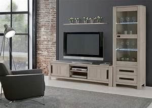 Meuble Tv Bois Massif Moderne : acheter votre meuble tv chene massif et ceramique 2 portes chez simeuble ~ Teatrodelosmanantiales.com Idées de Décoration