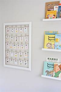 cute ideas for nursery wallslove the book display and With letters in frames for nursery