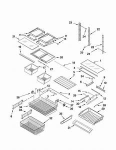 Shelf Parts Diagram  U0026 Parts List For Model Kbfs20evms4