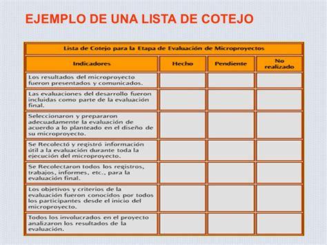 ejemplo de lista de cotejo que es una lista de cotejo en