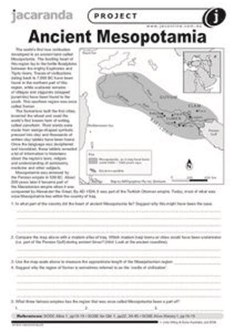 Ancient Mesopotamia 9th  12th Grade Worksheet  Lesson Planet