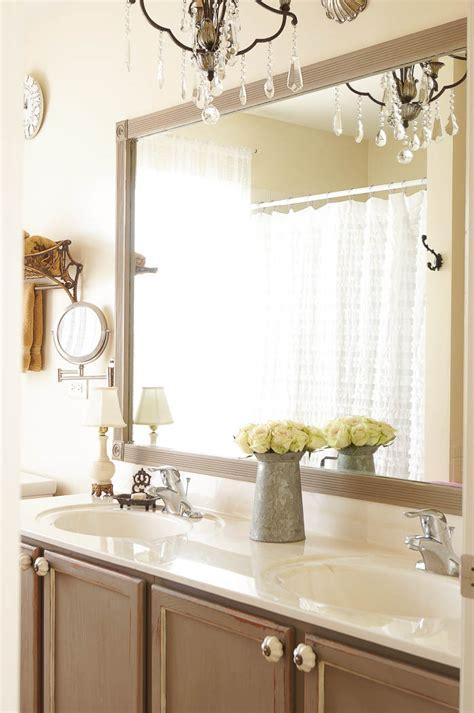 Diy Bathroom Mirror by Diy Bathroom Mirror Frame Update White Lace Cottage