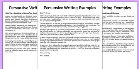 Persuasive Essay Student Models by Persuasive Writing Sle
