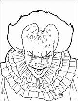 Coloring Clown Pennywise Pages Adult Getdrawings Colorier sketch template