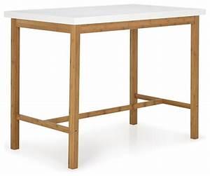 Table Haute A Manger : buluh table haute blanche et naturelle h90cm scandinave table manger par alin a mobilier ~ Teatrodelosmanantiales.com Idées de Décoration