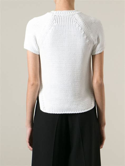 sweater shorts lyst odeeh sleeve sweater in white