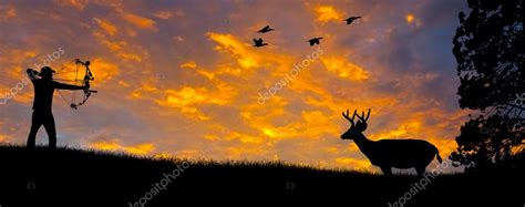 bow hunting silhouette stock photo  photoexpert