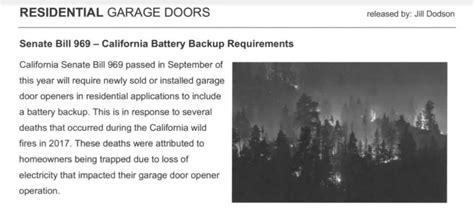 garage door opener battery backup law  california