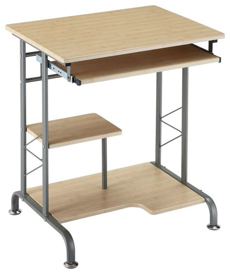 metro living space saver computer desk in natural finish