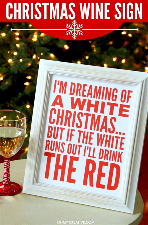 im dreaming   white christmas wine sign printable