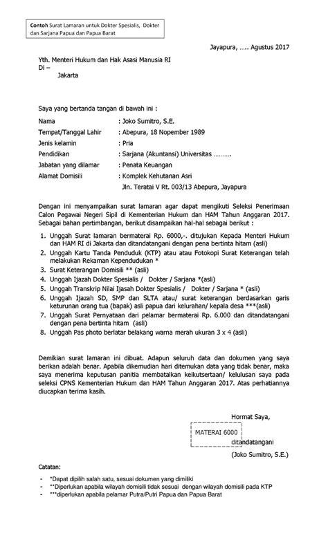 Lamaran Pekerjaan Cpns by Format Contoh Surat Lamaran Cpns Kementerian Hukum Dan Ham