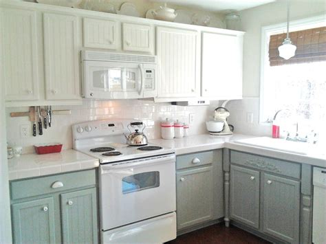 remodelaholic painting oak cabinets white  gray