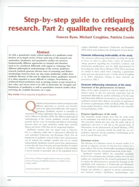 The article critique paper is essentially a type of article based on a certain conclusion and its assessment, body and introduction, it is a fundamental factor of any document. Qualitative Research Paper Critique Example — Final Thoughts