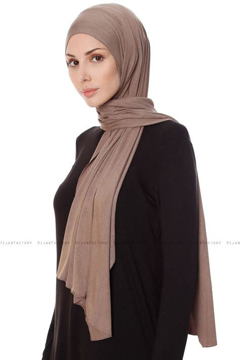 hijab jersey seda dark taupe stretch jersey shawl  ecardin