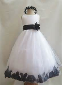 Black White Wedding Flower Girl Dress