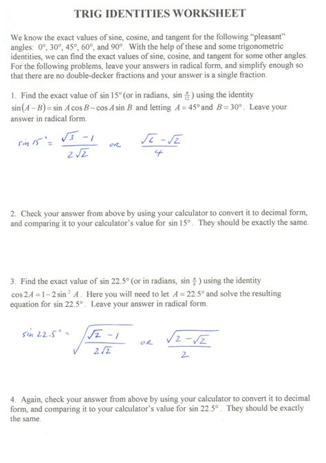 Trig Identities Worksheet 3 4 Answers Free Worksheets