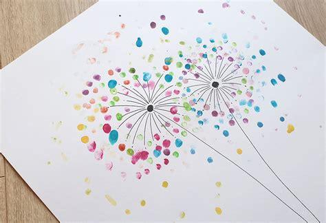 kreativ mit kindern pusteblumen mit fingerabdruecken