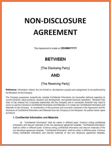 confidentiality  disclosure agreement sample
