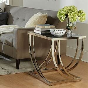 Beautiful glass end tables for living room using metal for Glass end tables for living room