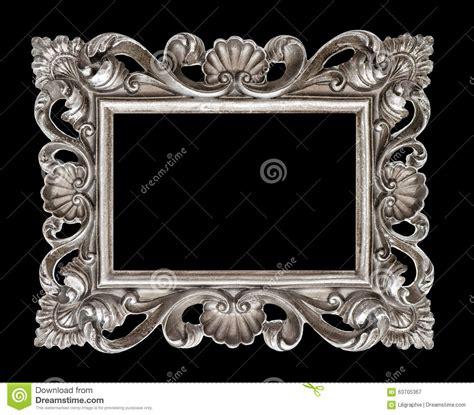 cadre de tableau baroque argent 233 de style de vintage d isolement au dessus du noir photo stock