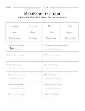 months of the year worksheet education