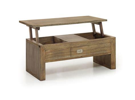 table basse avec plateau relevable en bois de