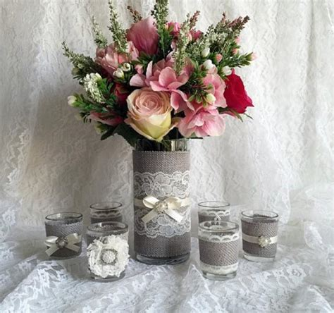 rustic light grey  ivory burlap  lace covered votive