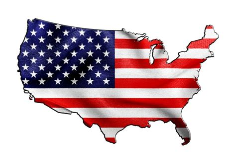 Usa U.s.a. United States Of America Flag In Shape Of Map