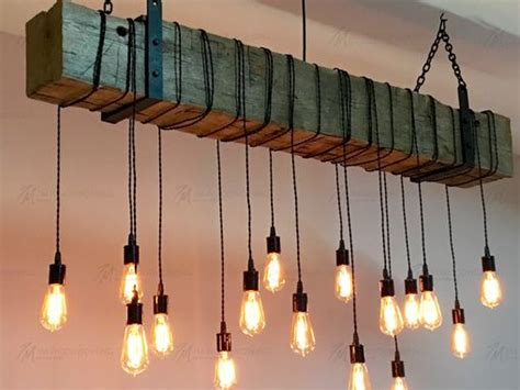 Buy A Custom Reclaimed Barn Beam Chandelier Light Fixture