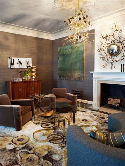 gold  gray living room  unique light fixture hgtv