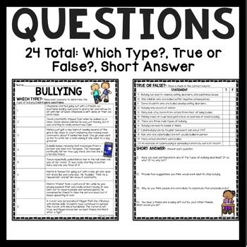 bullying reading comprehension worksheet  upper
