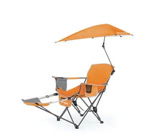 sportbrella portable cing chair folding recliner seat with footrest orange ebay