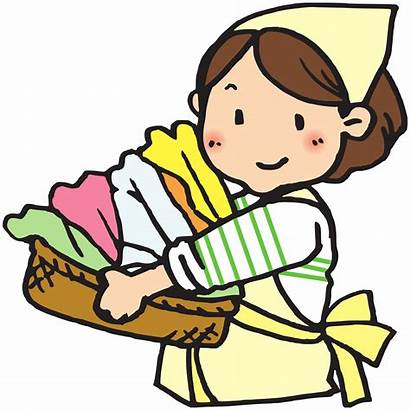 Laundry Clipart Basket Drawing Woman Clip Svg