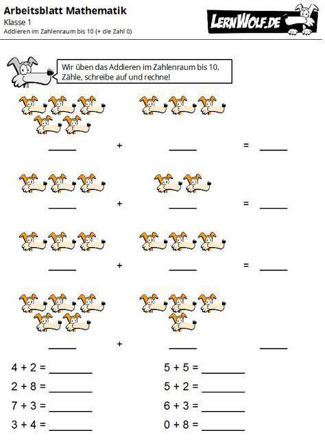 Die arbeitsblätter sind nach themen geordnet: Übungen Mathe Klasse 1 kostenlos zum Download - lernwolf.de (mit Bildern) | Erste klasse, Mathe ...
