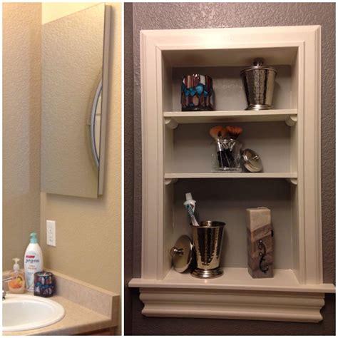 bathroom medicine cabinets ideas medicine cabinet turned open shelving so much easier