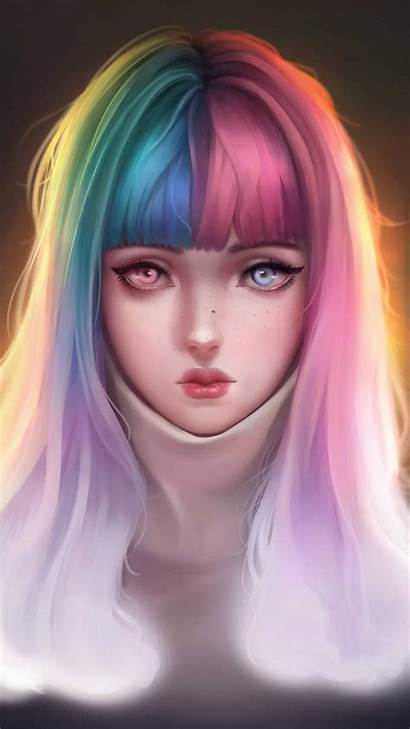 Anime Iphone Colorful Hairs Wallpapers Iphones Artistic