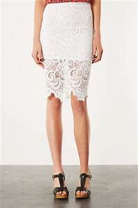 Topshop White Lace Pencil Skirt in White   Lyst