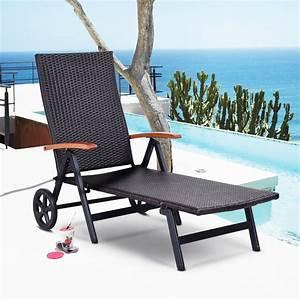 Folding, Rattan, Reclining, Chair, Adjustable, Patio, Chaise, Lounge, -, Walmart, Com