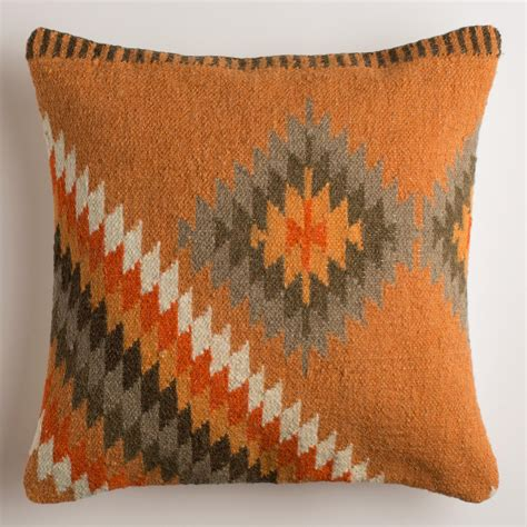 wool throw pillows orange montesilvano wool throw pillow world market