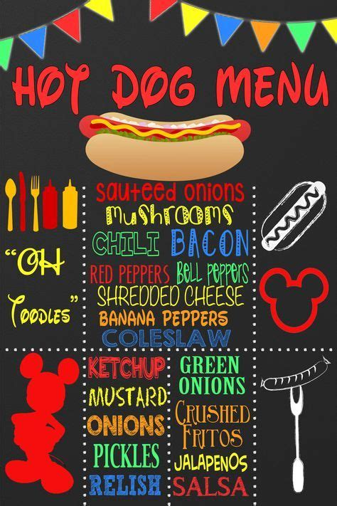 mickey mouse hot diggity dog hot dog menu customized