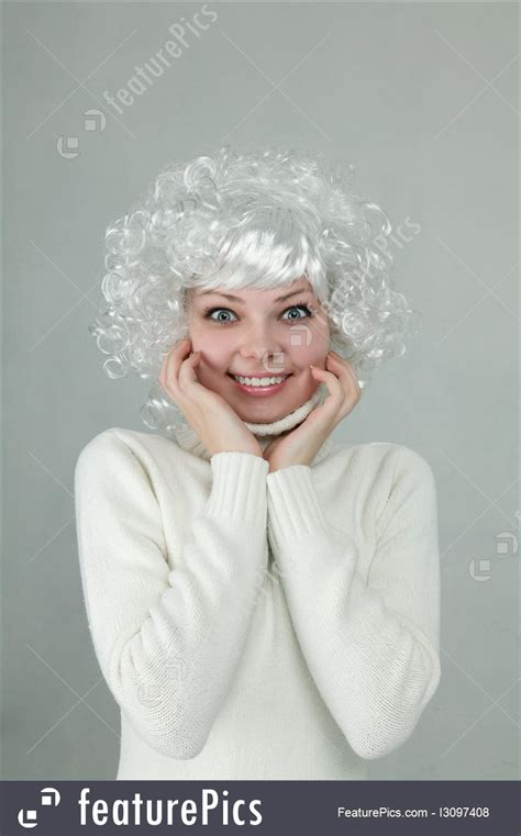 People Beautiful Girl With White Hair Stock Picture