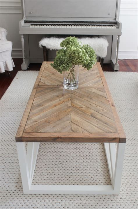 how to make a coffee table higher modern farmhouse herringbone coffee table shades of blue