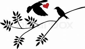 Vector illustration of flying bird silhouette with a love