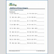 Grade 6 Math Worksheet  Addition Of 3 Integers  K5 Learning