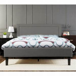 Portsmouth Queen Size Linen Fabric Bed Frame in Grey | Buy ...