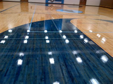 basketball court  general finishes blue pro floor stain