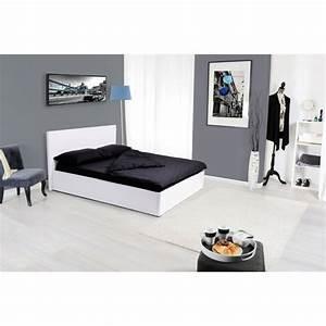 Lit Coffre Blanc : lit coffre adulte kansas 140x190cm blanc ~ Teatrodelosmanantiales.com Idées de Décoration