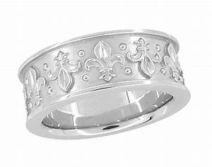 8mm wide vintage fleur de lis wedding band ring design in With fleur de lis wedding rings