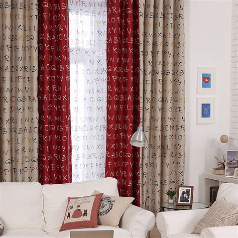 blackout extraordinary letters printed lounge curtains ideas