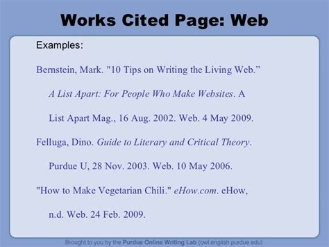 How to Do a Work Cited Page MLA Format